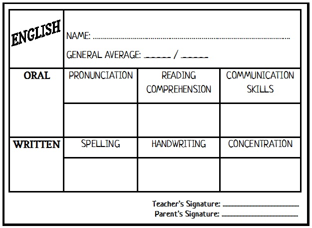 Enjoy Teaching English: Report Card (Template)