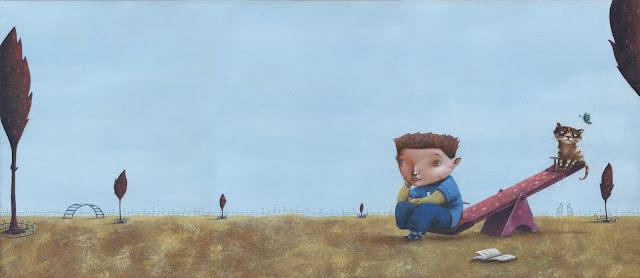 En la imagen ilustrada se ve a Oscar sentado sobre el borde de un columpio pensativo