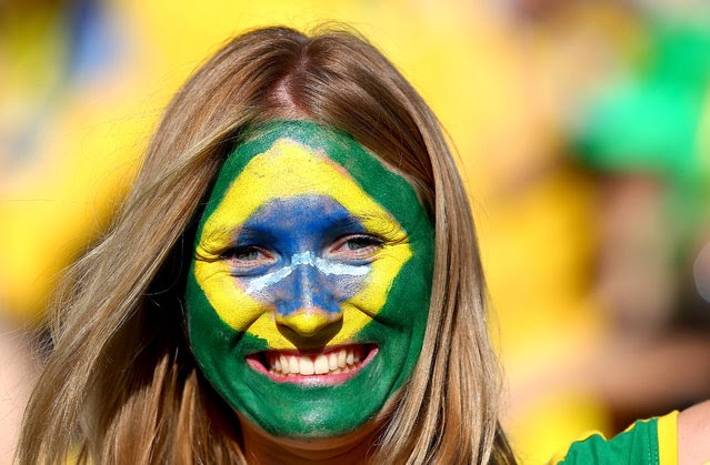 Brazil fan with painted face