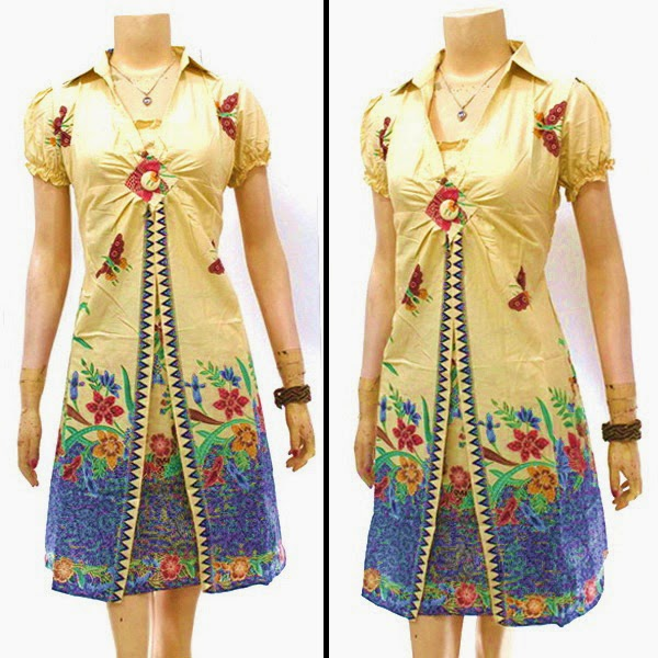 Model Modern Dress Rama Bunga Biru Cream Batik