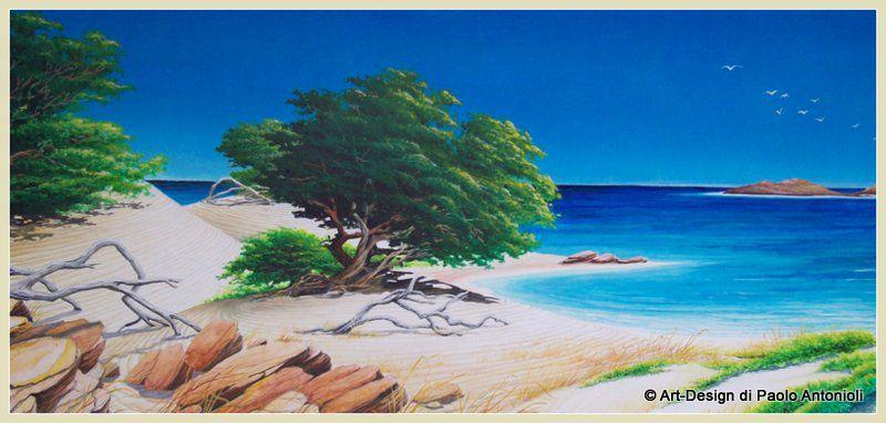 Art design paesaggio marittimo di macchia mediterranea - Pittura particolare ...