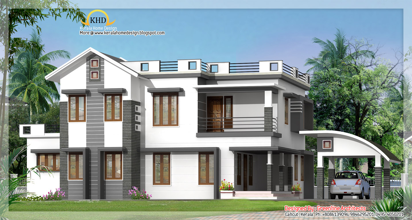 Modern contemporary villa elevation 2750 sq ft kerala for Modern villa plans and elevations