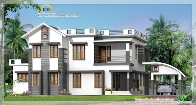 Modern Contemporary Villa Elevation - 2750 Sq. Ft