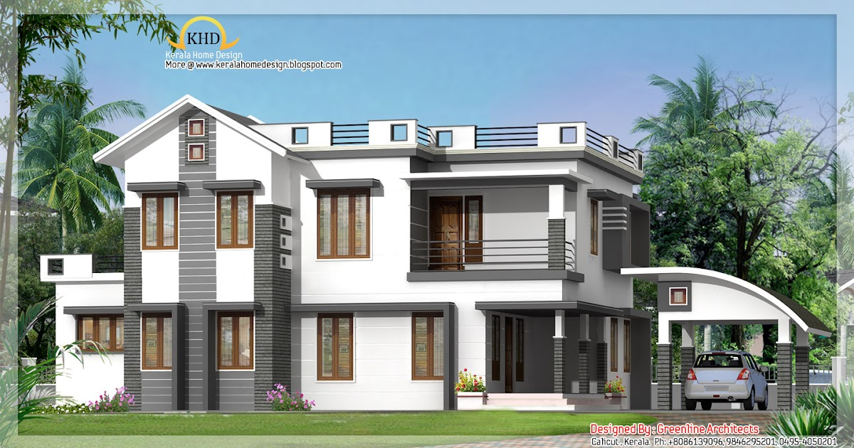 Modern contemporary villa elevation 2750 sq ft kerala for Contemporary villa plans