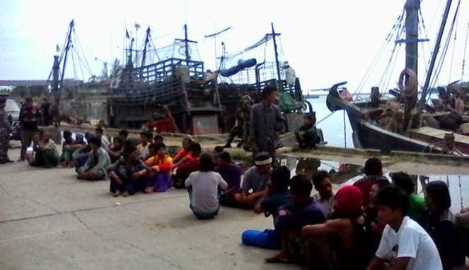 TNI AL Tangkap Lima Kapal Nelayan Thailand di Aceh