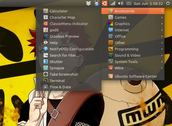 ClassicMenu Indicator di Ubuntu 11.04 Natty Narwhal