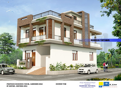 Modern north indian style villa home design for a 2575 Sq ft house
