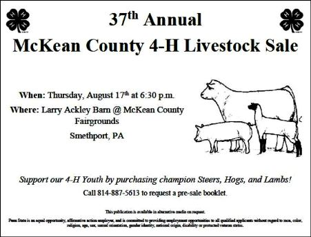 8-17 McKean Co. Annual 4-H Livestock Sale