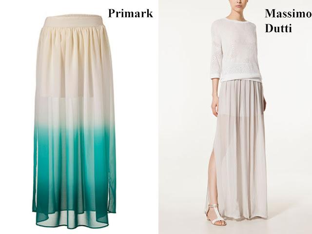 Falda larga con aberturas laterales de Primark y Massimo Dutti