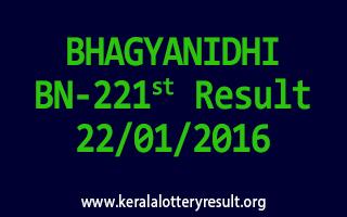 BHAGYANIDHI BN 221 Lottery Result 22-01-2016