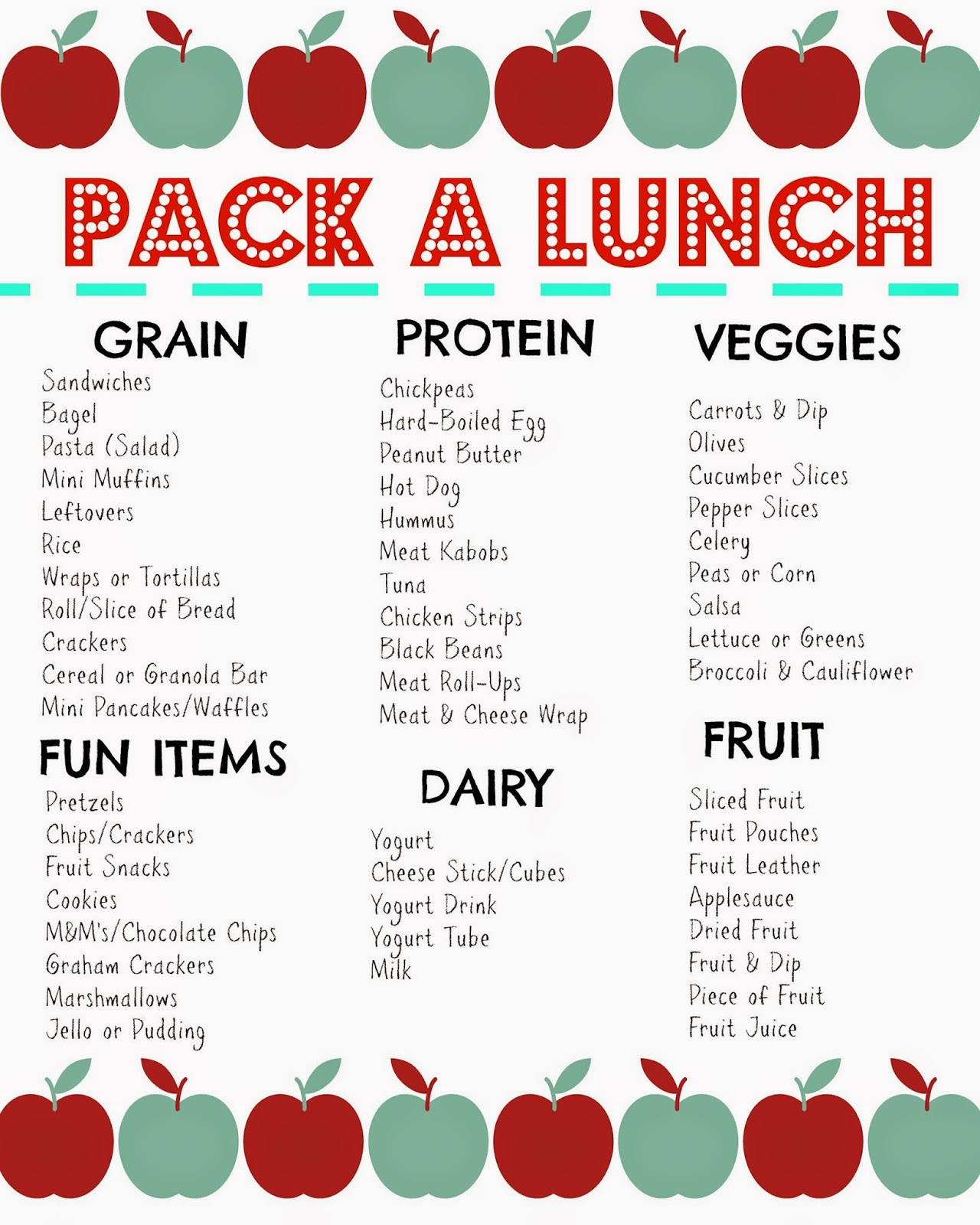 Packed Lunch Box Ideas (Printable)