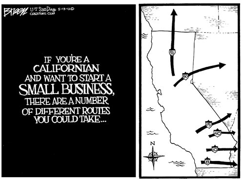 The next three are by Steve Breen, debuting on the blog. I'll take issue  with this critique as well: If California is such an oppressively difficult  state ...