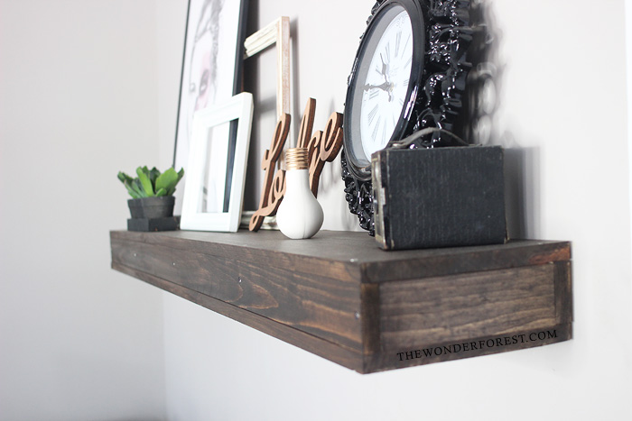 Fast easy and cheap diy floating shelf wonder forest for Cheap floating shelves