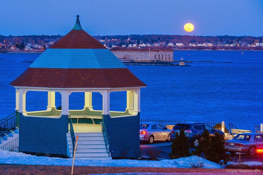 Portland, Maine April 2015 Spring at Fort Allen Park with moon rising over Casco Bay and Fort Gorges. Photo by Corey Templeton.