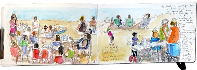 Aquarelle de plage, Delphine Priollaud-Stoclet