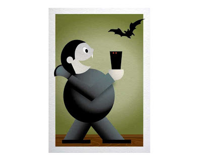 silly vampire holding coffee illustration