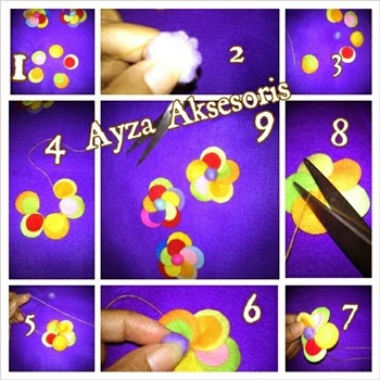 Tutorial Bunga Flanel Warna Warni - Ayza Aksesoris