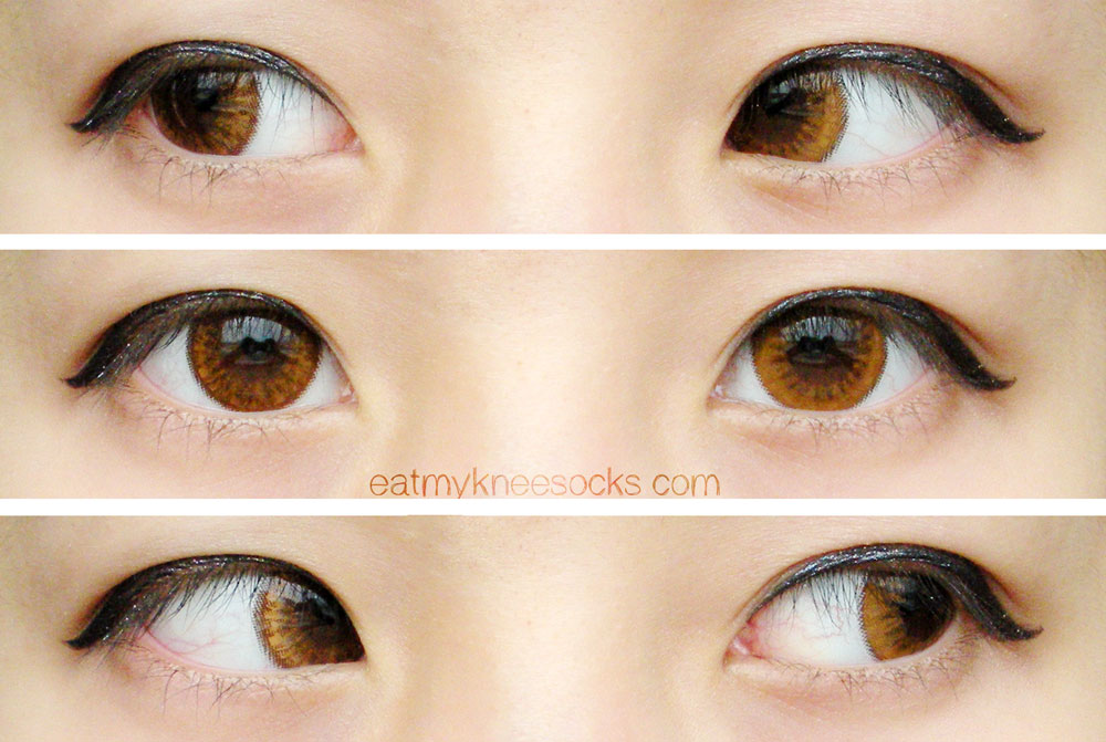 Left, center, and right views of the Bunny Color Brown lenses from Klenspop.