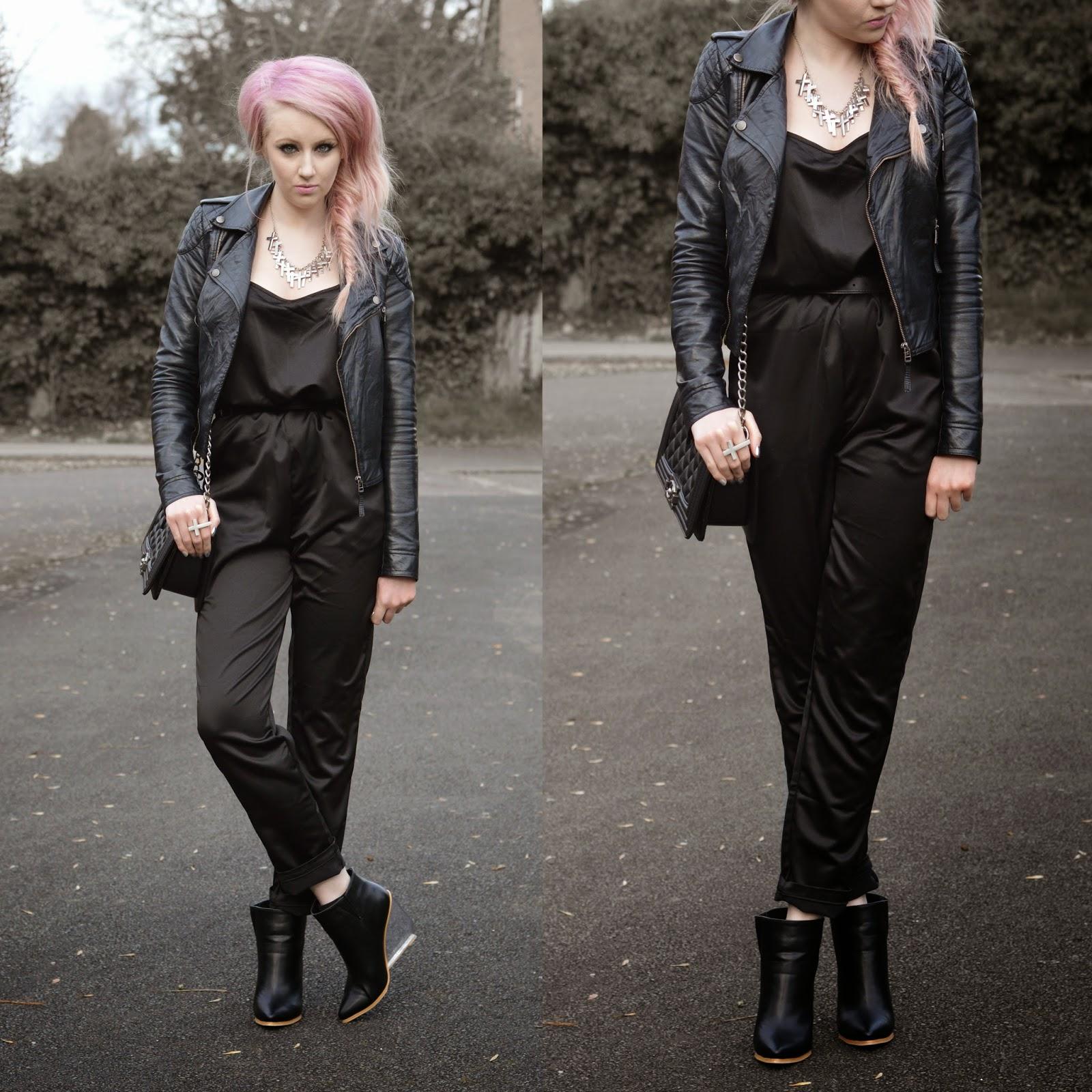 Sammi Jackson - Black Jumpsuit + Perspex Wedges