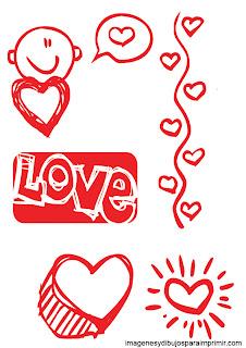 Corazones, palabras de amor Dibujos de amor para imprimir