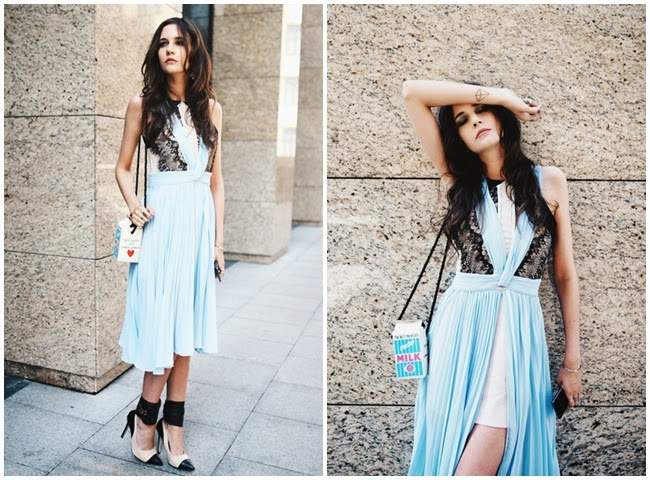 Three Floor 2014 SS Romance Light Blue Pleats Dress With Lace Panel