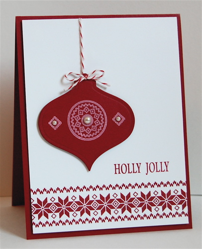 scandi bauble design card in red and white