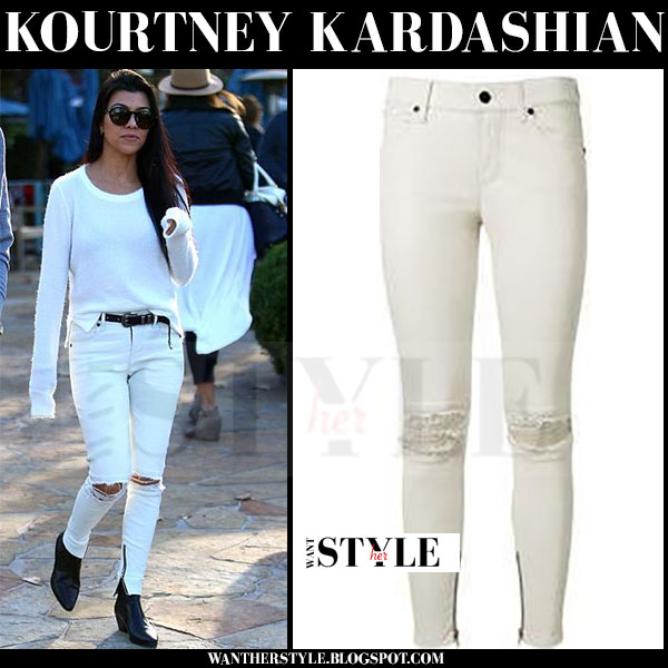 Kourtney Kardashian in white sweater and white rta dylan ripped knee jeans  what she wore