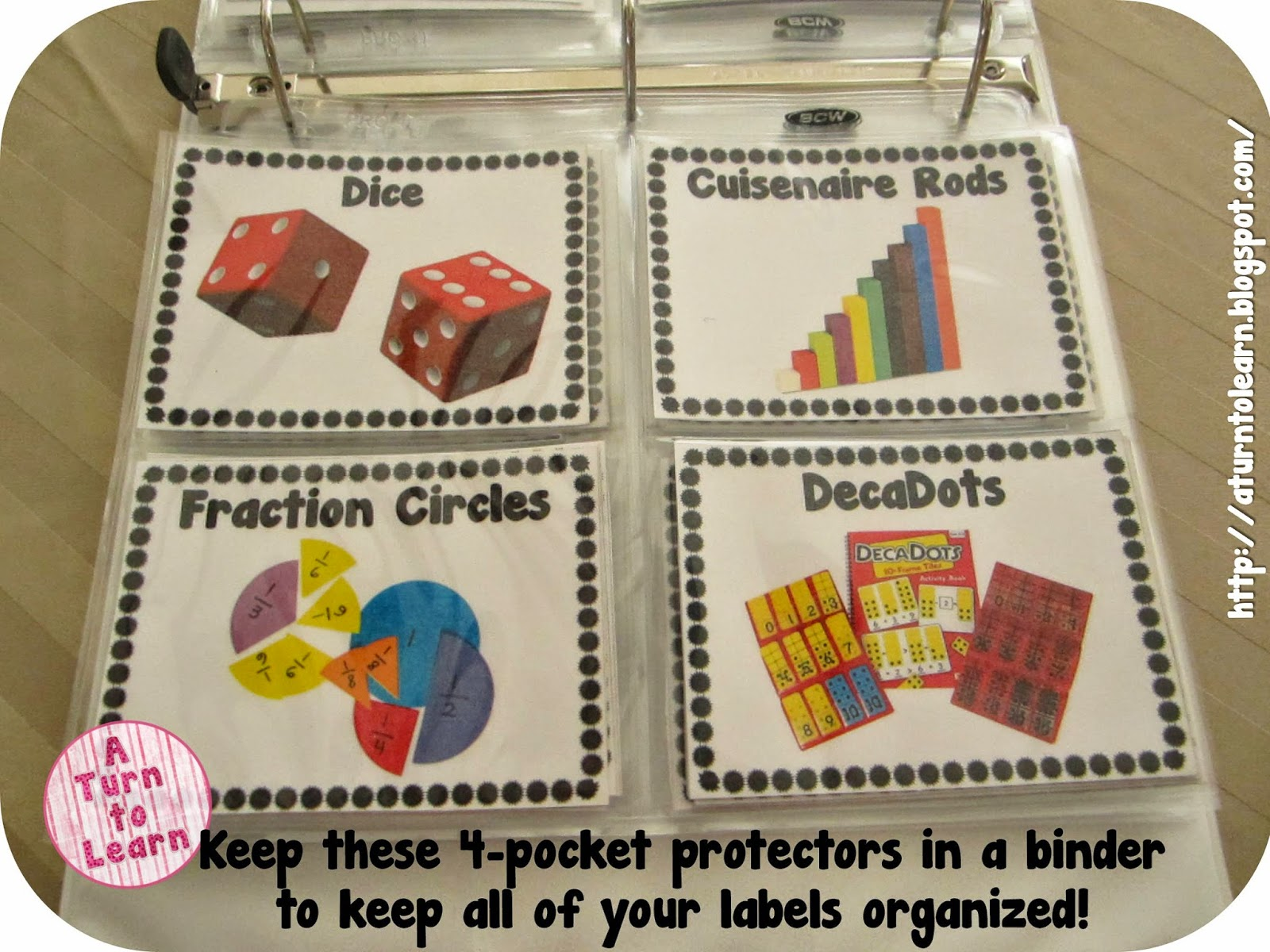 How to store your math manipulative labels...  These four-pocket page protectors are absolutely amazing... you can grab them via the link at the jump!