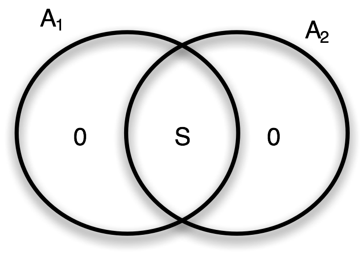 Fig. 1: Venn diagram of the entropies in the measurement device made by the pieces A1 and A2.