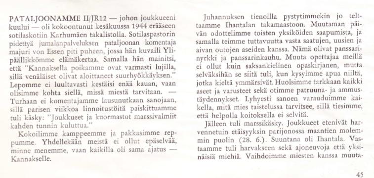 nettipäiväkirja4: Jänkäjääkärit (JR 12) Tali-Ihantalassa kesällä 1944