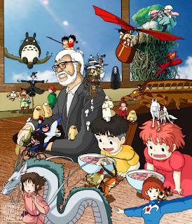 Hayao Miyazaki dengan karakter di filmnya