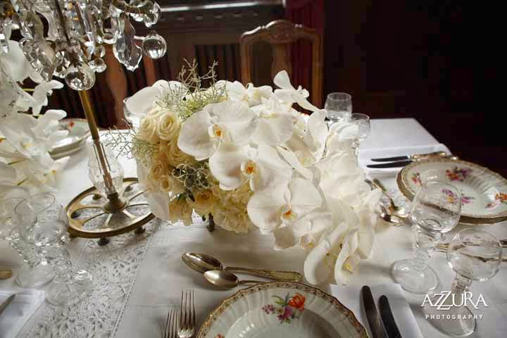 Flora Nova, destination wedding, historic castle, white orchids, vintage wedding