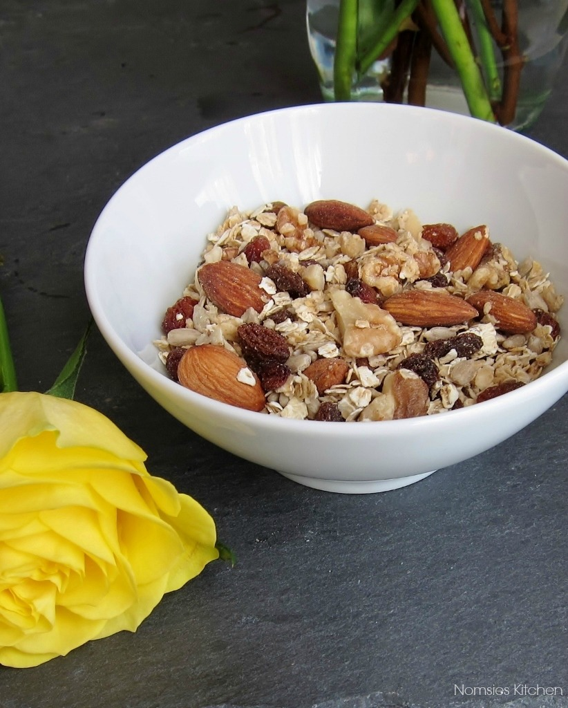 Maple Almond Granola (with no refined sugar) recipe from Nomsies Kitchen