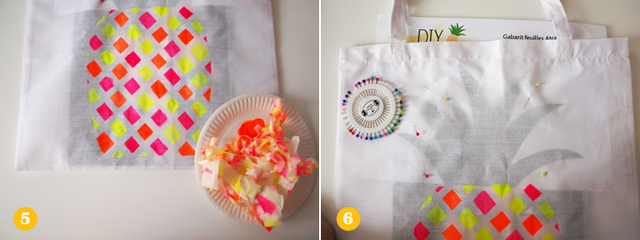 Etapes 5 et 6 - DIY tote bag ananas