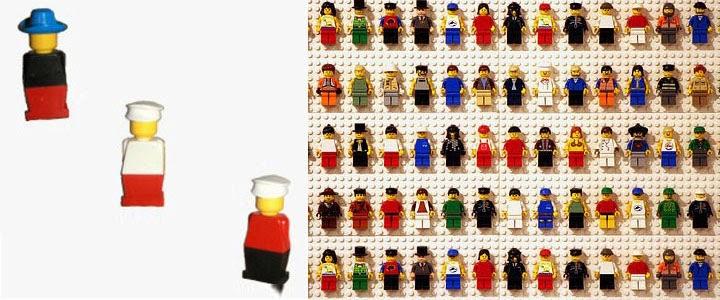 les figurines de gauche sont la premire version des personnages lego que lon connait aujourdhui