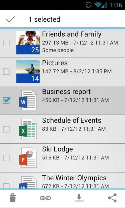 SkyDrive_Android Cloud App