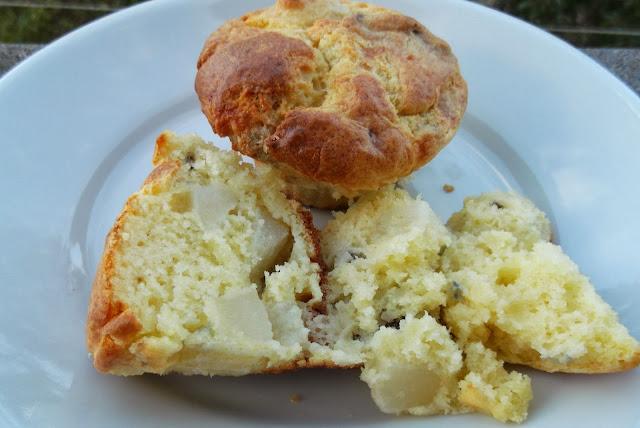 muffin con pere, noci e gorgonzola
