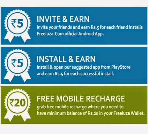 New Android app to get free Recharge and send free sms :  Freeluza