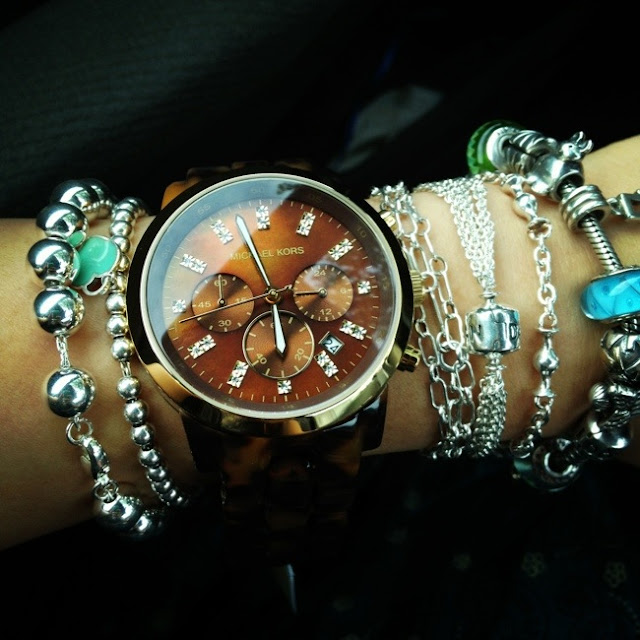 watch, designer watch, Michael Kors chronograph tortoise watch, chocolate goodness, nice watch, bling, arm party, tiffany and co beads bracelets, pandora charm bracelets, silver bracelets, jewelry
