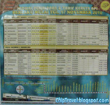 Inilah jadwal perjalanan dan tarif kereta api untuk jurusan