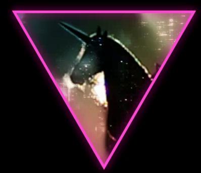 triângulo roxo gay com unicórnio