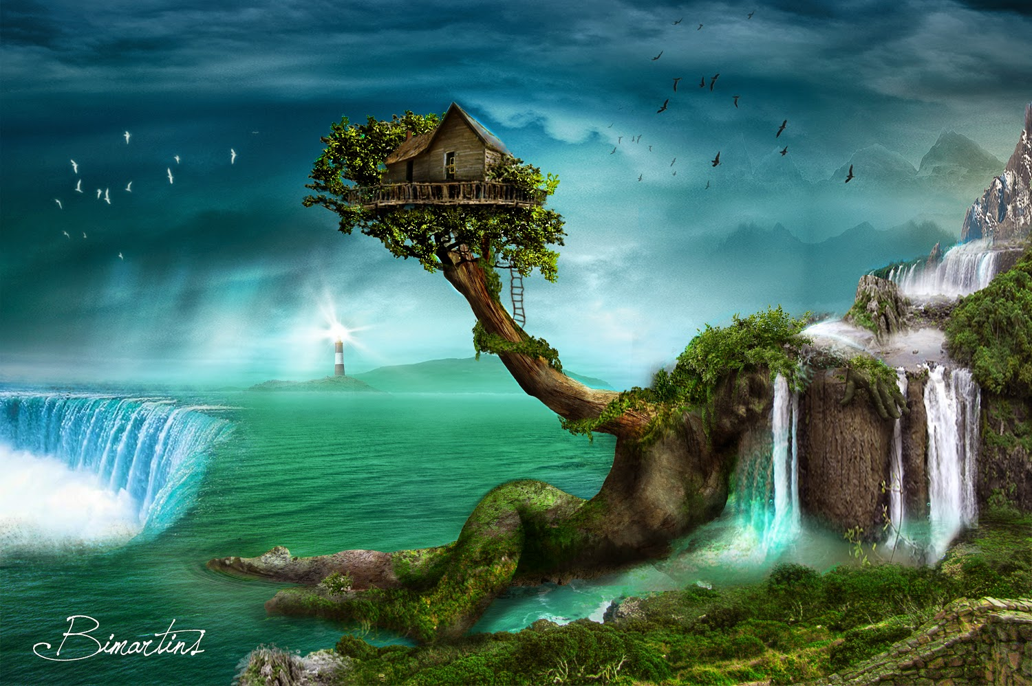 Treehouse Alone Near Sea Waterfalls Beautiful Dream Place