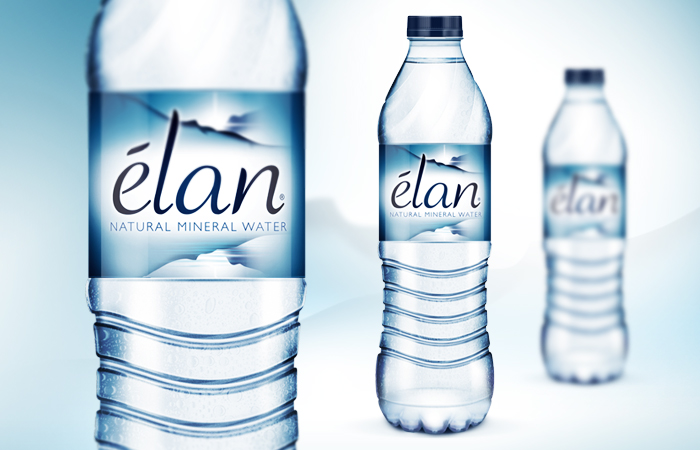 elan mineral water on packaging of the world creative