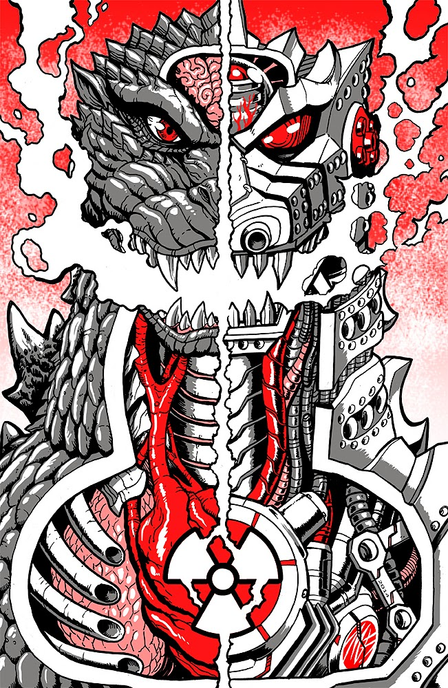 Guzu Gallery presents Strange Beasts 2 A Tribute to the King Group Art Show - The Monster Inside (Godzilla vs. MechaGodzilla) by Matt Frank