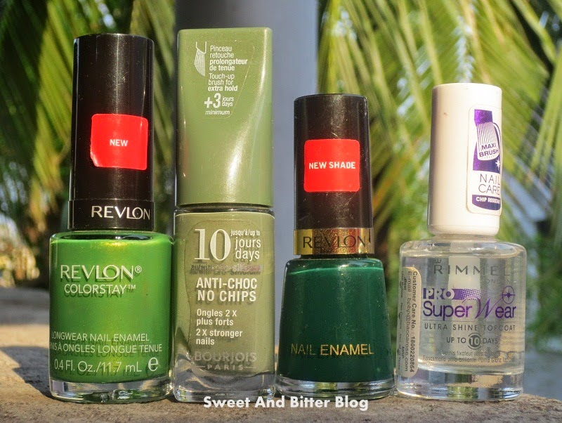 Revlon Bonsai Colorstay Nail Polish Bourjois 10 Days No Chips 23  Revlon Forest Green Rimmel Pro Super Wear Ultra Shine Top Coat