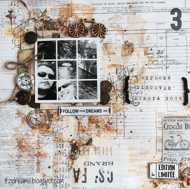 Tutorial Layout mix media, con productos Prima Marketing, Toga para el moodboard Scrap Around the World