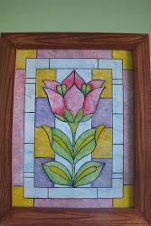 falso vitraux, marco imitación madera