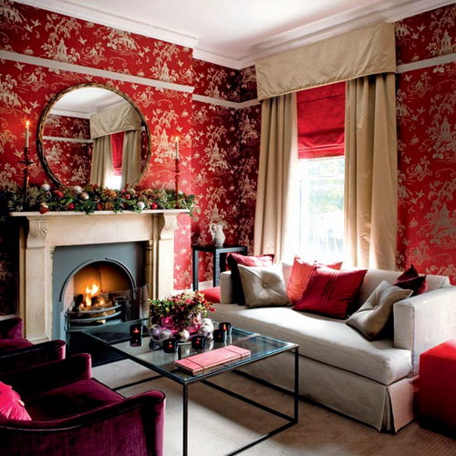 Exotic red wallpaper living room decoration