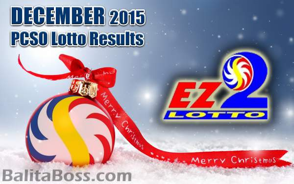 Image: December 2015 EZ2 2-Digit Game PCSO Lotto Results