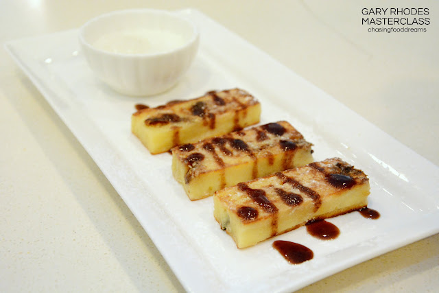 takes the bread and butter pudding and pan fry both sides of the ...
